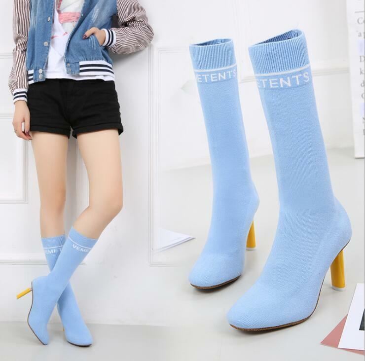 Women's Sexy Mid Calf colorful Wool Knitted Boots Formal Comfort Casual shoes B9