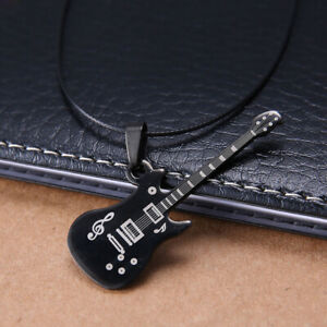 Fashion-Stainless-Steel-Guitar-Necklace-Pendants-Leather-Chain-Men-Necklaces