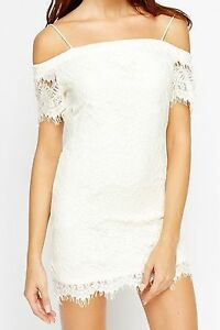 f2b06475ff6 Image is loading Women-TOPSHOP-Mini-White-Off-Cold-Shoulder-Lace-