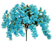 TURQUOISE WISTERIA BUSH ~ 14 Blooms Silk Flowers Wedding Bouquets Centerpieces