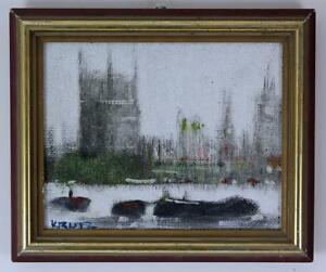 ANTHONY-ROBERT-KLITZ-1917-2000-Oil-Painting-THAMES-HOUSES-OF-PARLIAMENT-BIG-BEN