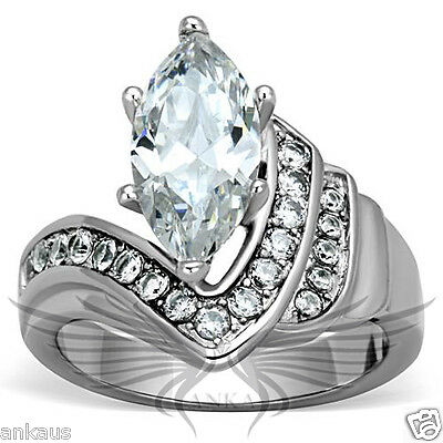 Brilliant 2.5c Marquise Cubic Zircon CZ AAA Engagement Ring 5 6 7 8 9 10 TK1526
