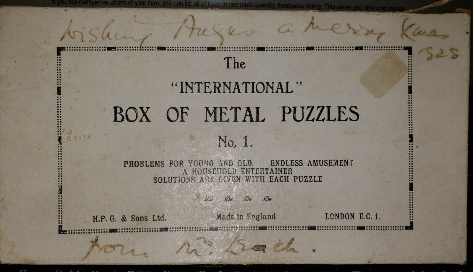 The International Box of Metal Puzzles No.1.  Made in England Vintage