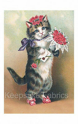 Victorian Cat Flowers Purple Bow Quilt Block Multi Szs FrEE ShiPPinG WoRld WiDE