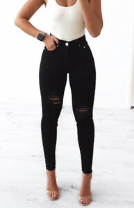 WAKEE-BLACK-HIGH-RISE-SKINNY-LEG-JEANS-WITH-RIPS-SIZE-6-16