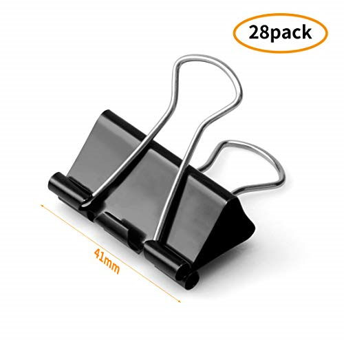 Large Binder Clips Paper Clamp 1.6-inch/41mm 28pcs For