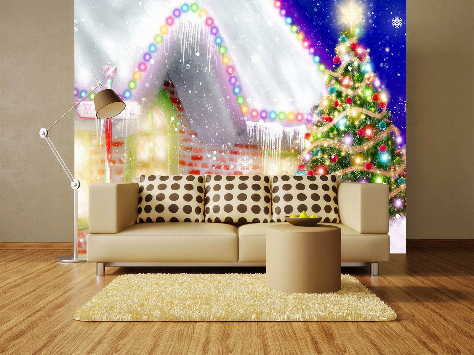 3D Lanterns Christmas Tree Paper Wall Print Wall Decal Wall Deco Indoor Murals