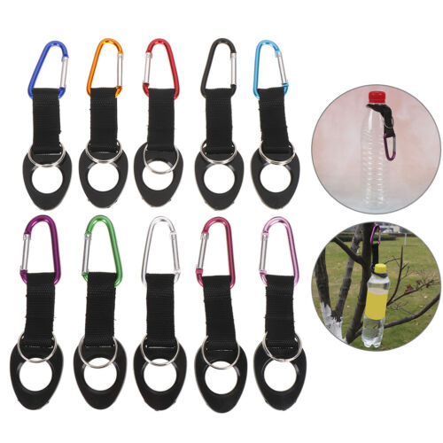 Hiking Water Bottle Holder Hook Belt Clip Aluminum Silicone Carabiners Key Rings