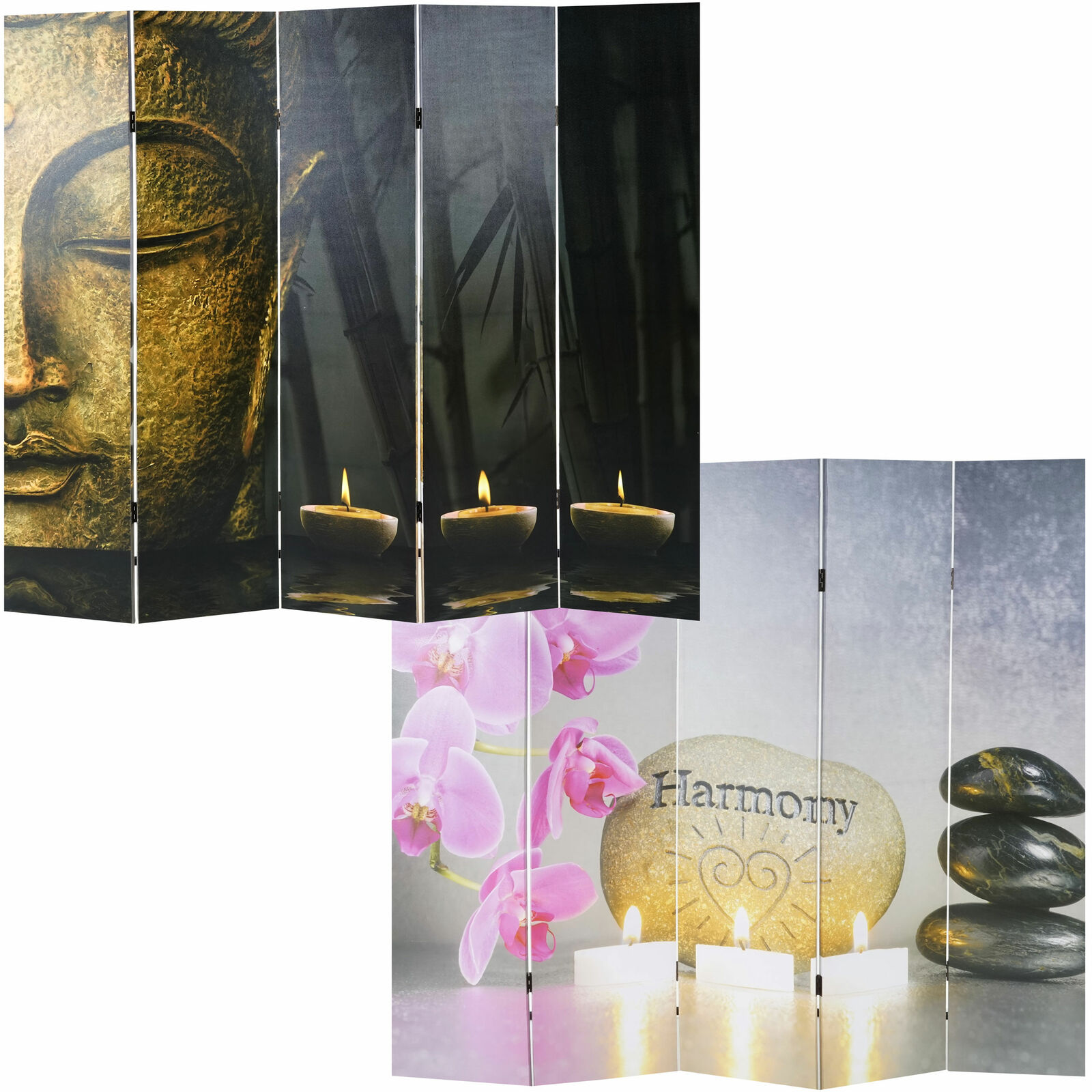 Photo Room Divider Buddha, Folding Screen Room Divider Partition 180x160 200cm