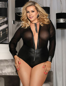 Plus-Size-Sheer-and-Wet-Look-Teddy-Black