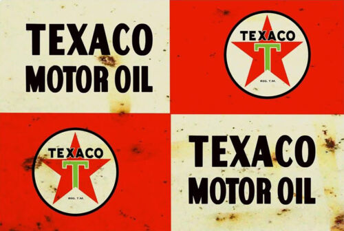 Texaco Old Rusted Look Tin Sign Plaque Mancaves etc great for Garage workshop