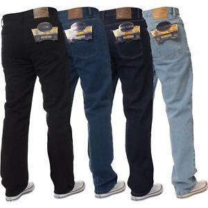 New-Mens-Straight-Leg-Basic-Heavy-Work-Jeans-Denim-Pants-All-Waist-Big-Sizes