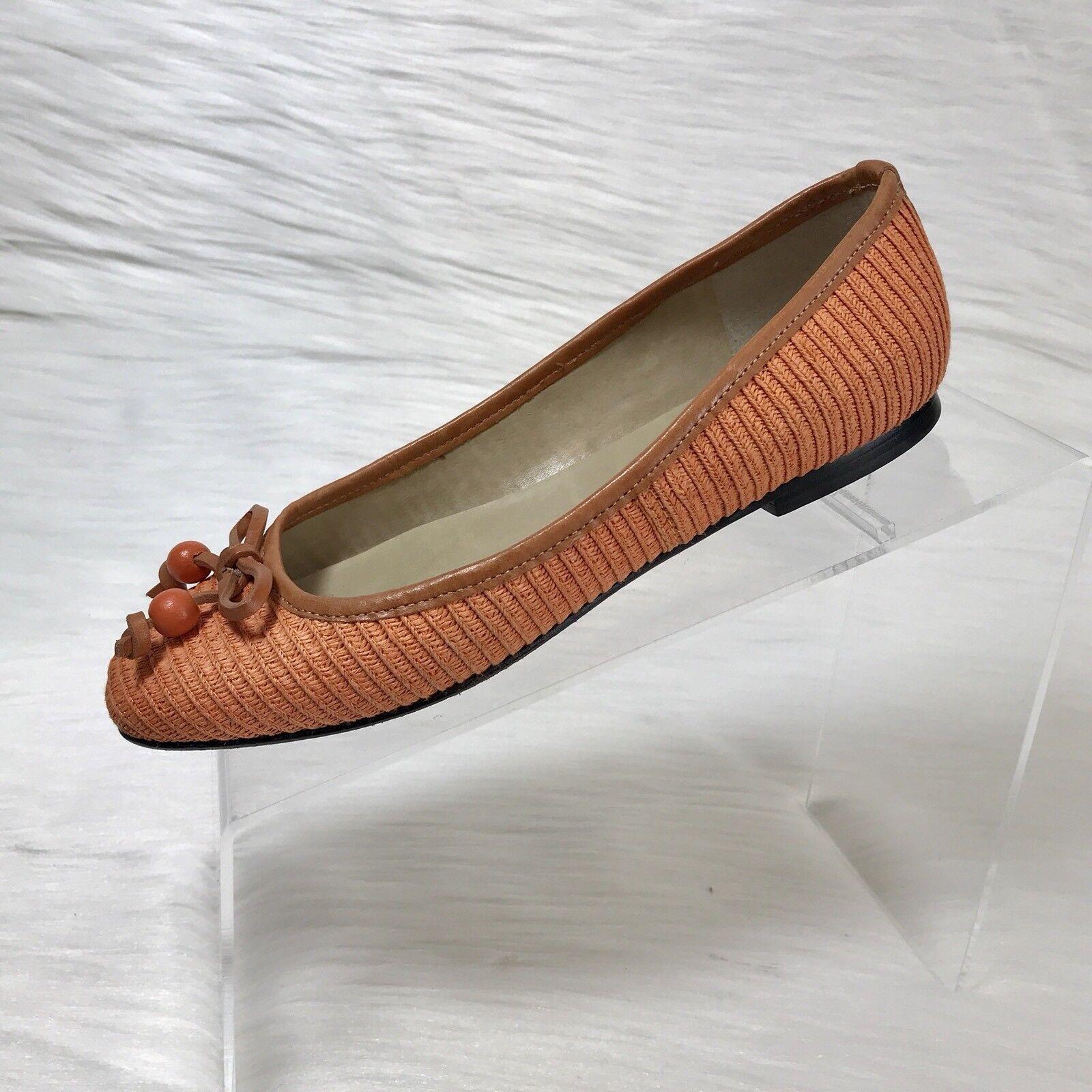 Talbots Women's Ballet Flats orange canvas  Slip On shoes Size 6 W