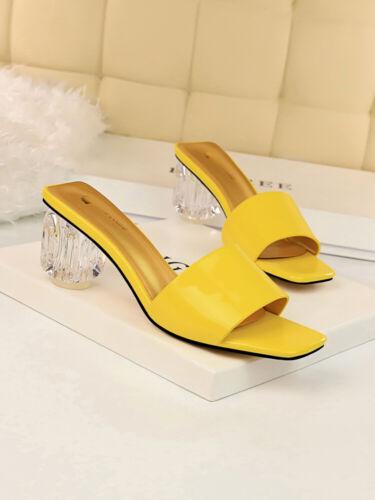 Sandali ciabatte sabot giallo pelle sintetica trasparente 6.5 bassi comodi cw034