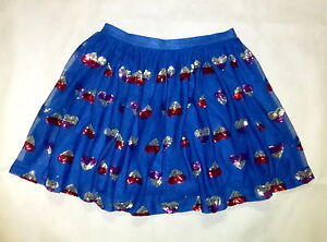 7617a2592 Cat & Jack Dark Blue Tulle Girls Mini Skirt Silver Pink Red Sequin ...