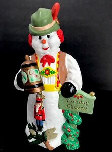 Drinking-Snowman-Holiday-Cheers-Toy-Soldier-Stein-German-Vest-Hand-Painted