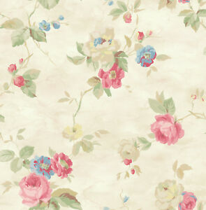 Watercolor Floral Romantic Blue Cream Pink Yellow Green Double Roll