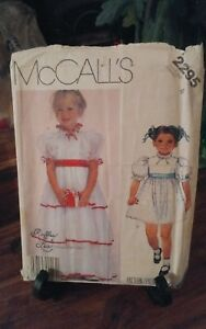 Vtg-1985-Mccalls-Ruffles-Lace-2295-girls-party-dress-puffed-sleeves-sz-4-NEW