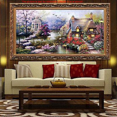 63x38cm Handmade Cross Stitch Embroidery Kit Garden Cottage Design Home Decor