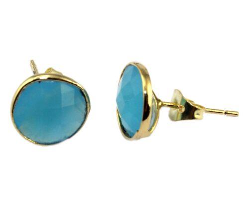 Rond Multi-Color Opalite Topaz Calcédoine jaune plaqué or goutte Stud Earring