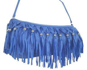 Candies-Juniors-S-M-L-XL-Blue-Fringe-Silver-Beads-Bandeau-Halter-Swim-Bikini-Top