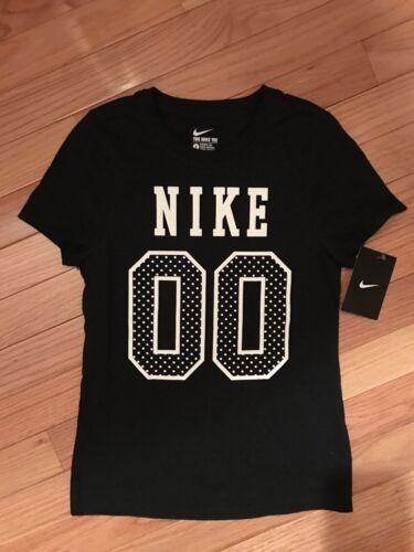 NWT Nike Girls NIKE SS Black//Polka Dot Tee-Shirt 943063//100 11N