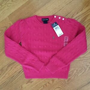 b56065ab760624 RALPH LAUREN girls 4 5 6 6x PINK CableKnit sweaters NWT cotton PONY ...