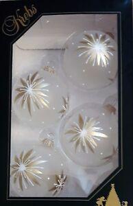 Christbaumkugeln Weiß Gold.Details Zu Christbaumkugeln Kugel Sterndekor Gold Weiß Frostoptik Krebs Glas Lauscha