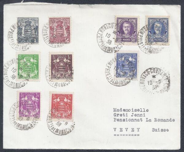 1938 Monaco Housse-multi-couleur De L'affranchissement-condamine à Vevey, Suisse Excellente Qualité