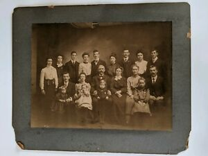 Vintage-Antique-1900s-Family-Group-Photo-17-x-14-034-Mounted-on-Cardboard