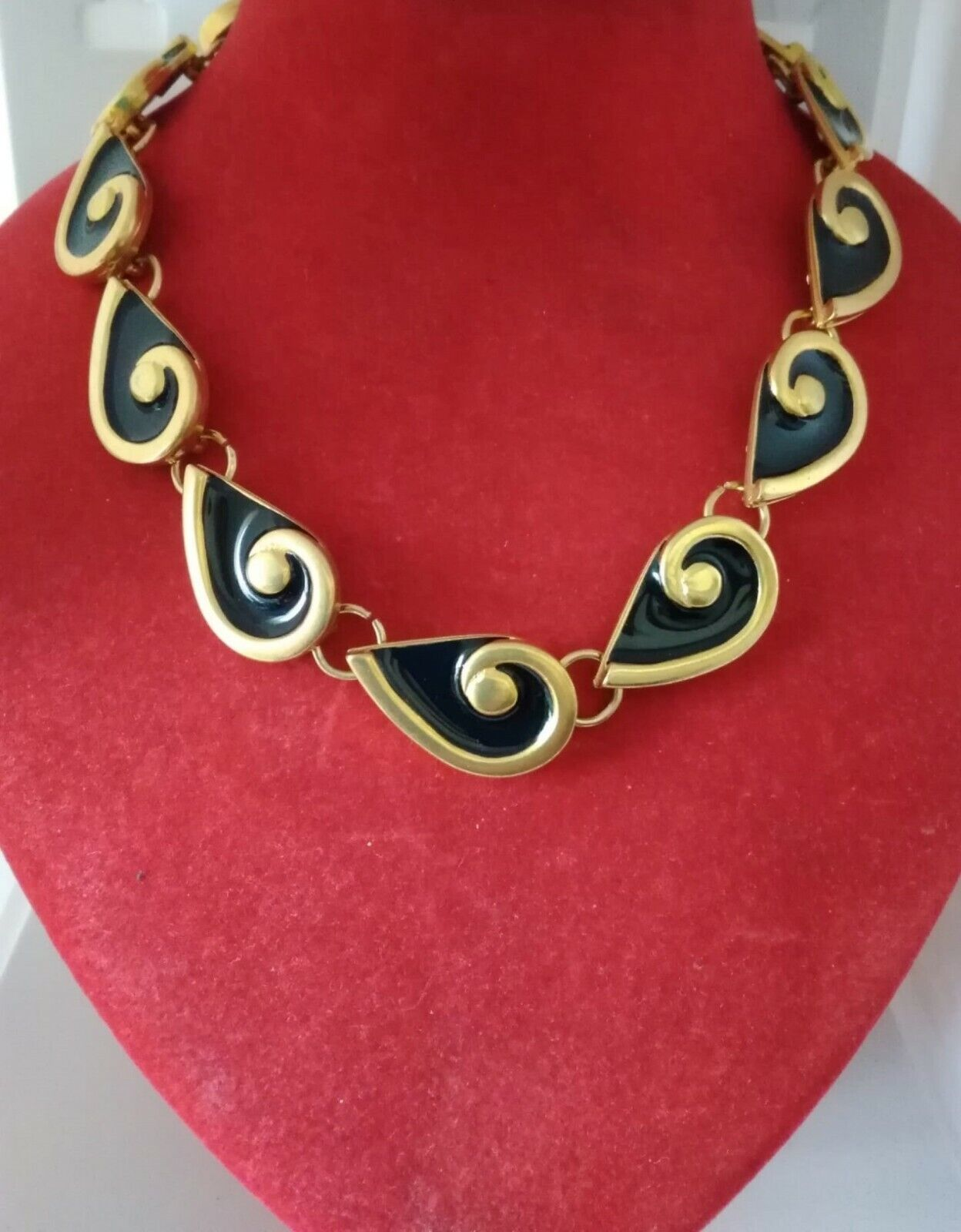 Vintage Necklace Women Girl years 70/80 Metal Enamel and Gold Color-show original title