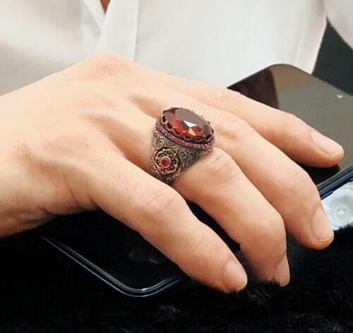 Turco hecho a mano sólido de plata esterlina 925 piedra de rubí Lux Mens Anillo todos si̇ze 02 2