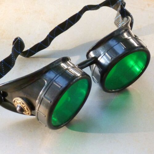 black Steampunk goggles Victorian glasses novelty costume welding lens goth GGG