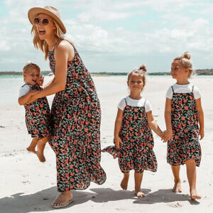 AU-Family-Dress-Mother-and-Daughter-Matching-Women-Girl-Floral-Strap-Beach-Dress