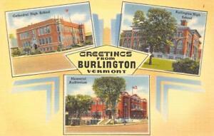 BURLINGTON-VT-Cathedral-High-School-Memorial-Auditorium-Vermont-Postcard-c1940s