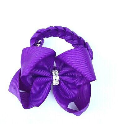 Royal Blue Hair Clip Bow with Rhinestone School Bun Wrap Donut Hair Accessories