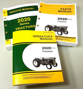 service manual set for john deere 2020 tractor parts operators owner rh ebay com john deere pro gator 2020 parts manual John Deere Riding Mower Manuals