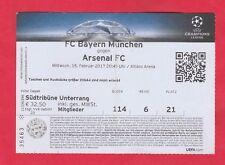 Orig.Ticket   Champions League 2016/17  BAYERN MÜNCHEN - ARSENAL FC  1/8 FINALE