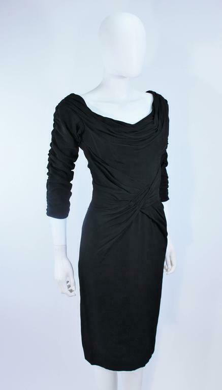 CEIL CHAPMAN Black Gathered Cocktail Dress Size 4… - image 6
