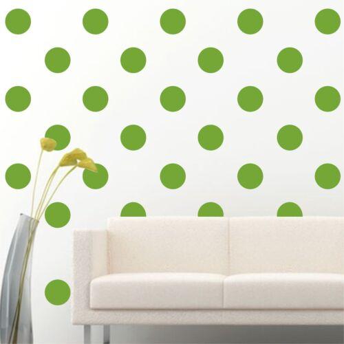 "100 of 4/"" Light Green Polka Dots Circle DIY Removable Wall Vinyl Decal Sticker"