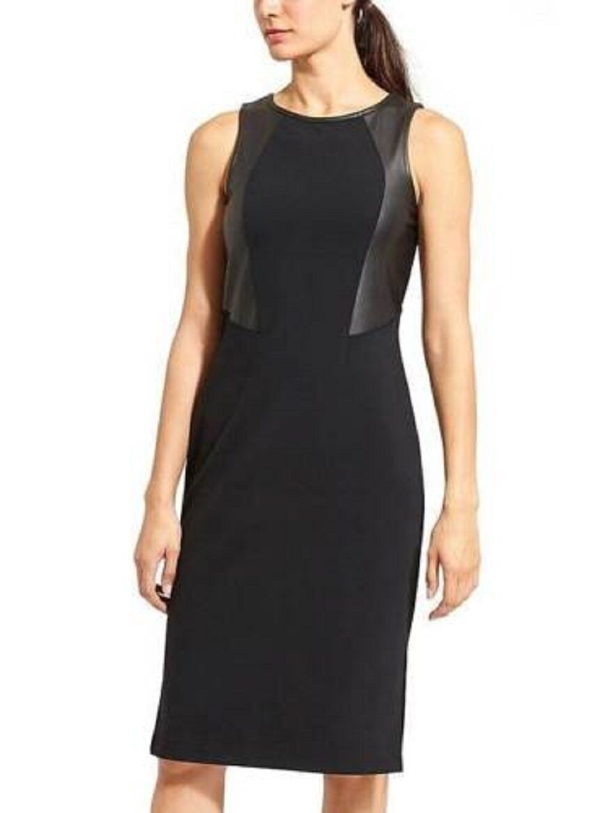 ATHLETA WOMEN'S FAUX LEATHER PONTE NIGHT ON THE TOWN DRESS NEW M