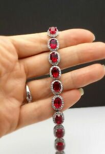 17Ct-Oval-Cut-Red-Ruby-amp-Diamond-Halo-Tennis-Bracelet-Solid-14K-White-Gold-Over