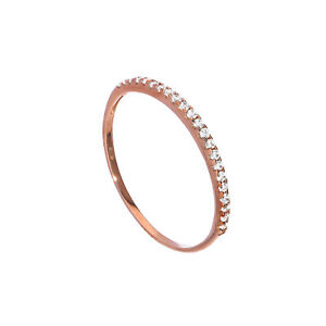 Real-375-9ct-Rose-Gold-amp-Clear-CZ-Crystal-Half-Eternity-Stacking-Ring-Size-I-U