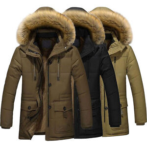 Men's Warm Down Cotton Jacket Fur Collar Thick Winter Hooded ...