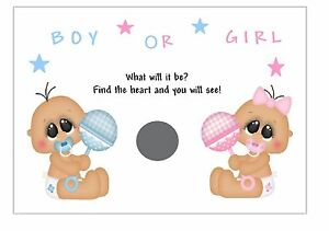 Baby Shower//party  Boys Girls 12 Gender Reveal Scratchcards