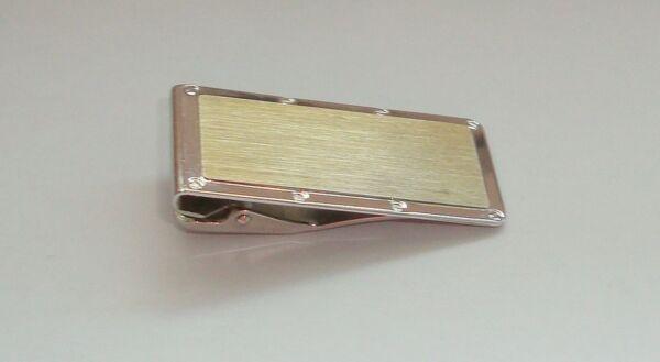 Geldscheinklammer Bicolor 925er Silber Teilvergoldet Gebürstet Interess. Design