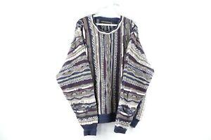 Vintage-90s-COOGI-Style-Herren-XL-ED-BASSMASTER-Multicolor-gestreift-Pullover-Bill-Cosby