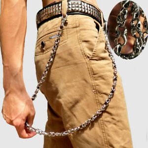 Mens-Biker-Trucker-Heavy-Skull-Hip-pop-Metal-Keychain-Key-Jean-Wallet-Chain