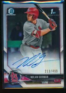 NOLAN-GORMAN-AUTO-2018-Bowman-Draft-Chrome-Autograph-REFRACTOR-499-Rookie-RC