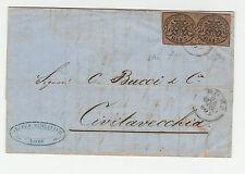 STORIA POSTALE 1860 STATO PONTIFICIO 3 BAJ 2 VALORI ROMA 23/6 Z/1468